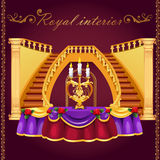 Golden staircase and table with candlestick Royalty Free Stock Photos
