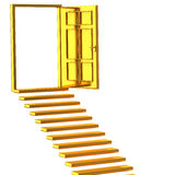 Golden stairs and open doors Stock Image
