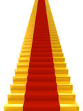 Golden stairs with red carpet Royalty Free Stock Photography