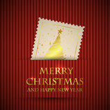 Golden stamp christmas card 3 Stock Photography