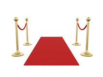 Golden Stanchion and Red Carpet. Golden fence, stanchion with red barrier rope and carpet, isolated on white background Royalty Free Stock Photo