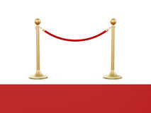 Golden Stanchion and Red Carpet. Golden fence, stanchion with red barrier rope and carpet, isolated on white background Stock Photo
