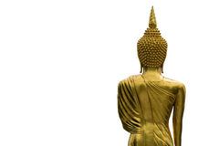 Golden standing buddha statue back Royalty Free Stock Image