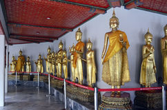 Golden standing Buddha statues in Wat Pho. Bangkok, Thailand stock image