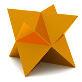 Golden star. Golden faceted star - 3d image Stock Image