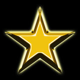 Golden star. 3d rendering of golden star front view Stock Photography