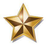 Golden star. Vector illustration isolated over white background Royalty Free Stock Photography