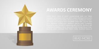 Golden star award on brown base. Gold Trophy  banner illustration Royalty Free Stock Photography