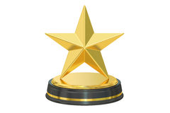 Golden star award, 3D rendering. On white background vector illustration