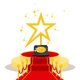 Golden star award. Film Award for the best film in the form of stars on luxurious catwalk with red carpet. Flat vector cartoon illustration. Objects isolated on Royalty Free Stock Images