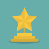 Golden star award icon with shadow in a flat design Stock Image