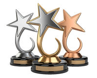 Golden star award set Stock Image