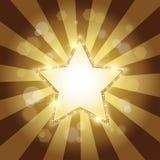 Golden star background. Vector Golden shine star background with brilliants Stock Image
