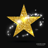 Golden star  banner. Gold glitter star. Gold template star for banner, card, vip, exclusive, certificate, gift, luxury, priv Stock Photos