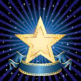 Golden star blue rays. Blank golden movie star in starry night Royalty Free Stock Image