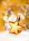 Golden star bokeh light effect Royalty Free Stock Image