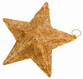 Golden star Christmas decoration isolated on white Royalty Free Stock Photos