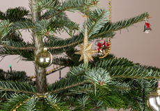 Golden star christmas decoration. Royalty Free Stock Images