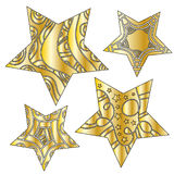 Golden star collection Royalty Free Stock Photography
