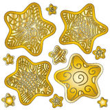 Golden Star Collection. Over white background Royalty Free Stock Photos