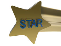Golden star coming towards the screen Royalty Free Stock Photography
