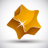 Golden star. Golden star 3d vector icon Stock Photography