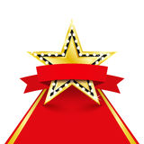 Golden star with diamonds on the red carpet Royalty Free Stock Images