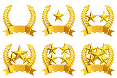 Golden star emblem set Royalty Free Stock Photos