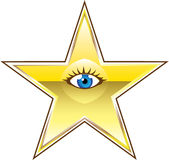 Golden Star with an Eye Vector Stock Images