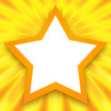 Golden star frame. Golden shining background with blank photo frame in the shape of star Stock Photos