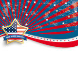 Golden Star God Bless Stars Stripes Flyer. Independence day retro flyer with white emblem Royalty Free Illustration