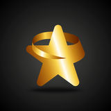 Golden star icon on dark background Stock Images