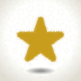 Golden Star Icon on star pattern Royalty Free Stock Photo