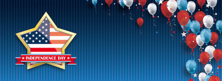 Golden Star Independence Day Balloons Stars Blue Vintage Header. Vintage header with striped background, balloons and golden star for the independence day Royalty Free Illustration