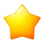 Golden star isolated - Star illustration in orange and yellow on white background. Golden with yellow star isolated icon - Shining star illustration in orange Royalty Free Stock Images