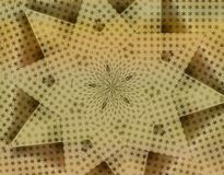 Golden Star Kaleidoscope wallpaper. An illustration of repeated golden stars in a kaleidoscope pattern with shadows for use in website wallpaper design royalty free illustration