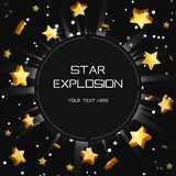Golden star light explosion eclipse template. Customizable golden star light space explosion eclipse template. Flying shining stars lence flare burst print vector illustration