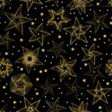 Golden star line random seamless pattern. This illustration is drawing golden star with line in black color seamless pattern Stock Images