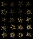 Golden star line random set. This illustration is design golden star line group isolated in set with black color background Royalty Free Stock Photography