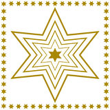 Golden star outlines inside each other with star-edge Royalty Free Stock Photos