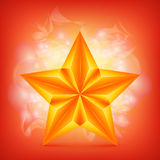 Golden Star over abstract shiny background Stock Photo