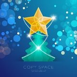 Golden Star with pattern and Christmas tree with bokeh light set. Illustration isolated on blue gradient background, with copy space Royalty Free Stock Photo