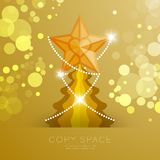 Golden Star with pattern and Christmas tree with bokeh light set illustration. Isolated on gold gradient background, with copy space Royalty Free Stock Image