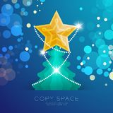 Golden Star with pattern and Christmas tree with bokeh light set illustration. Isolated on blue gradient background, with copy space Royalty Free Stock Photos