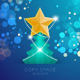 Golden Star with pattern and Christmas tree with bokeh light set illustration. Isolated on blue gradient background, with copy space Stock Photos