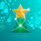 Golden Star with pattern and Christmas tree with bokeh light set illustration. Isolated on green gradient background, with copy space Royalty Free Stock Image