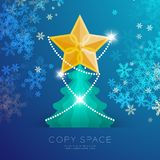 Golden Star with pattern and Christmas tree with snowflake bokeh. Light set illustration isolated on blue gradient background, with copy space Royalty Free Stock Images