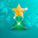 Golden Star with pattern and Christmas tree with snowflake bokeh light set illustration. Isolated on green gradient background, with copy space Royalty Free Stock Photos