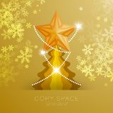 Golden Star with pattern and Christmas tree with snowflake bokeh light set illustration. Isolated on gold gradient background, with copy space Stock Photos