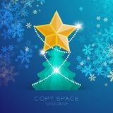 Golden Star with pattern and Christmas tree with snowflake bokeh light set illustration. Isolated on blue gradient background, with copy space Royalty Free Stock Photography